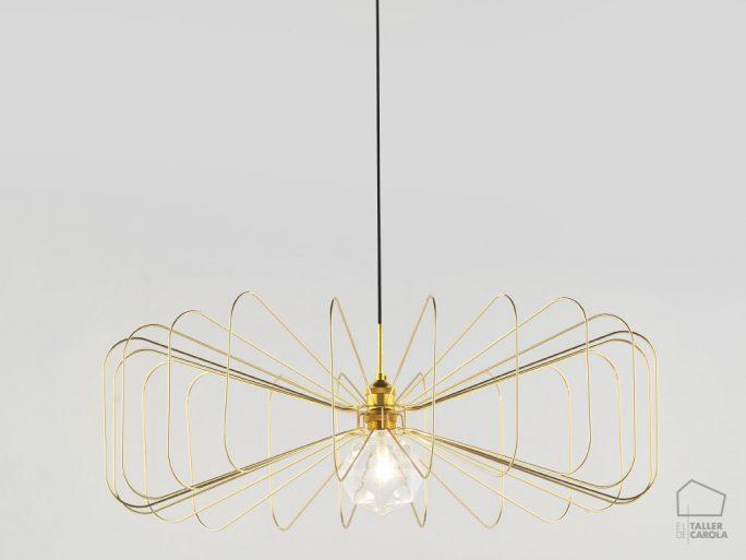002c1047 Lámpara Suspensión Vintage Alambre Oro