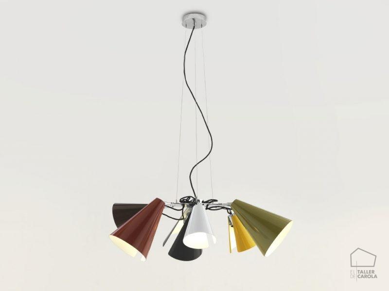 002c1147 Lámpara Suspensión Vintage Tulipas Colores Cromo