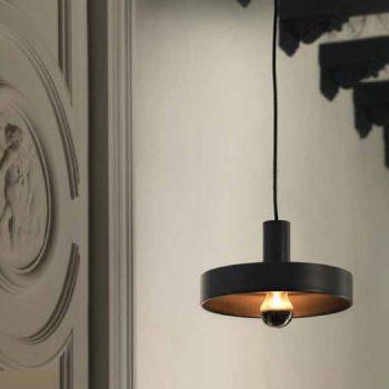 002c1227 Lámpara Suspensión Industrial Metal Negro