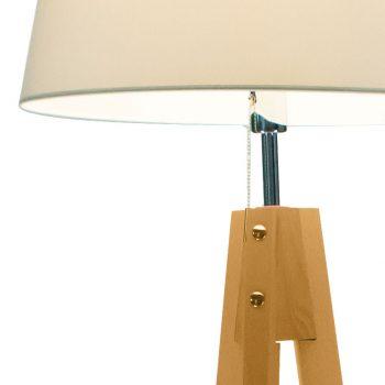 002p1020 lampara de pie trípode madera con pantalla d55xh41xhpie146cm