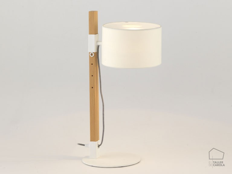 002s1140 Lámpara Sobremesa Madera y Pantalla Textil