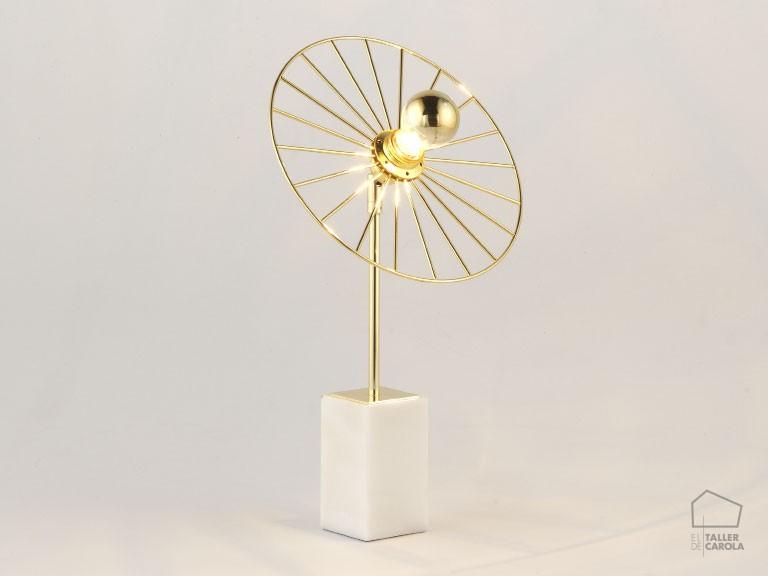 002s1208 Lámpara Sobremesa Vintage Rueda Oro y Mármol
