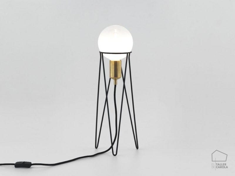 002s1225 Lámpara Sobremesa Vintage Alambre Trípode Bombilla
