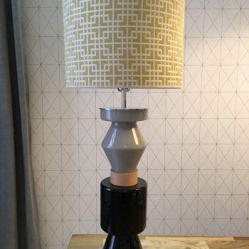 002snac107 Lámpara Sobremesa Pie Cristal Lacado Decó