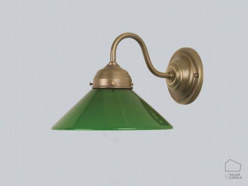 005aa7_17grb Iluminación Modernista Vintage Bronce Tulipa Cristal Verde