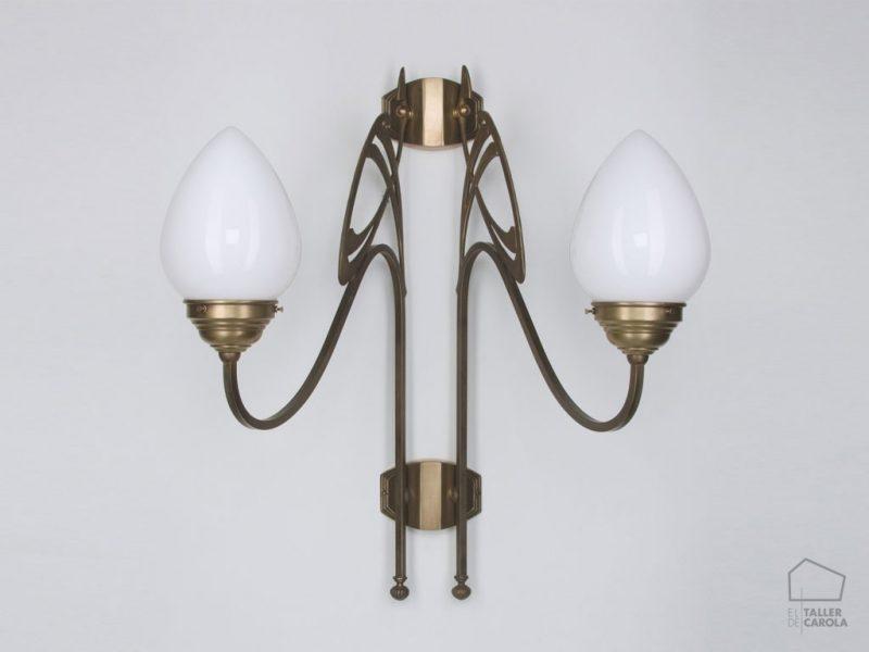 005aad266_123opb Aplique Art Decó Vintage Tulipa cristal Bronce