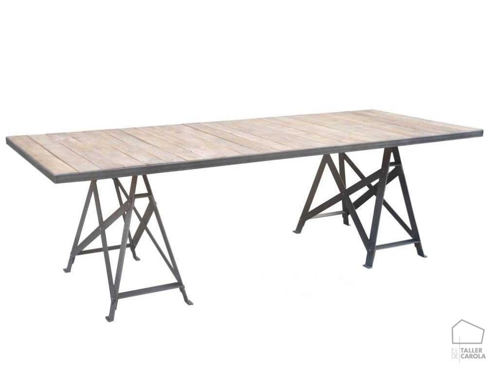 Mesa extensible industrial el taller de carola for Mesa comedor industrial extensible