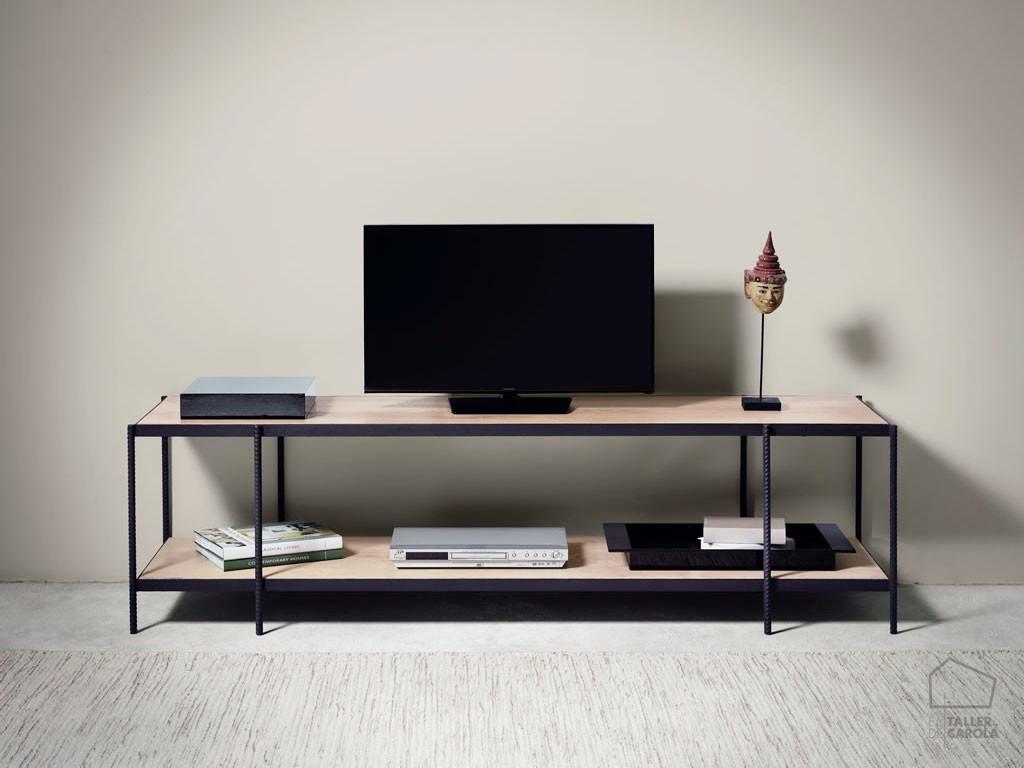 Mueble tv aine madera y hierro el taller de carola for Muebles industriales madera y hierro