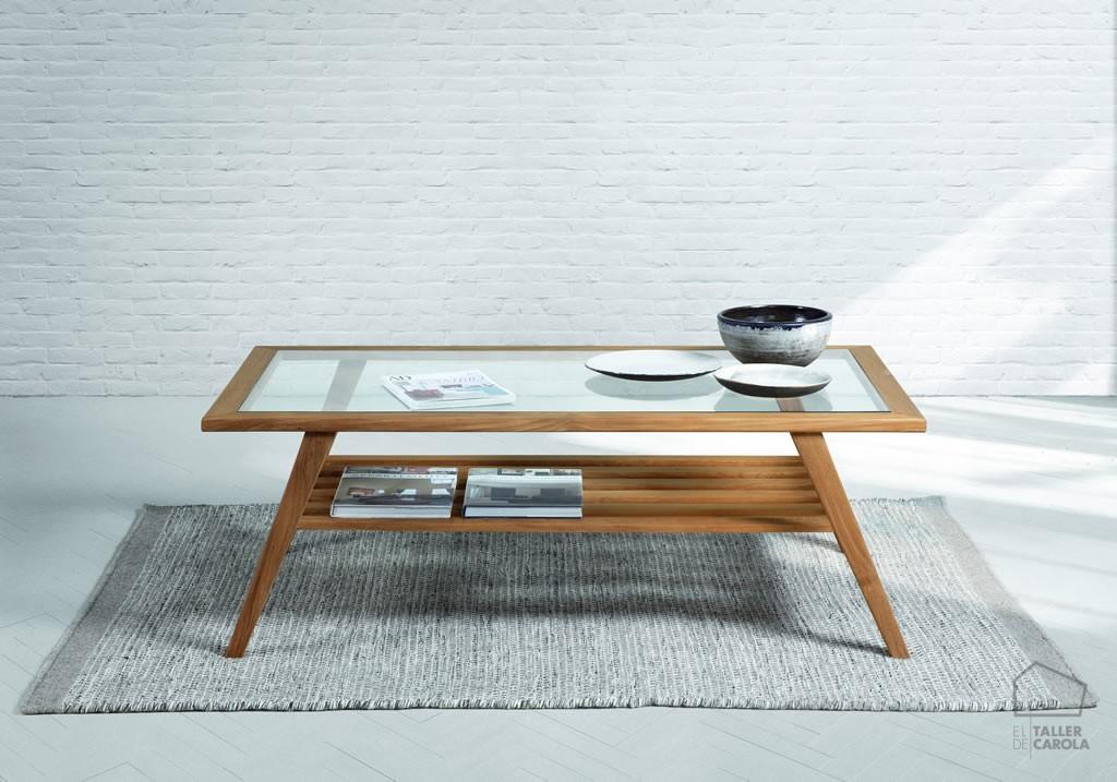 Mesa de centro madera y cristal alaya el taller de carola - Mesa madera y cristal ...