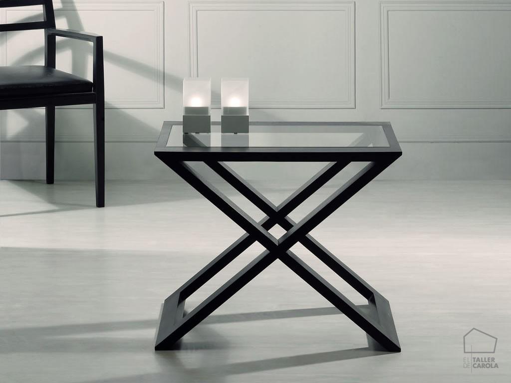 Mesa auxiliar madera y cristal jazz el taller de carola - Mesa madera y cristal ...