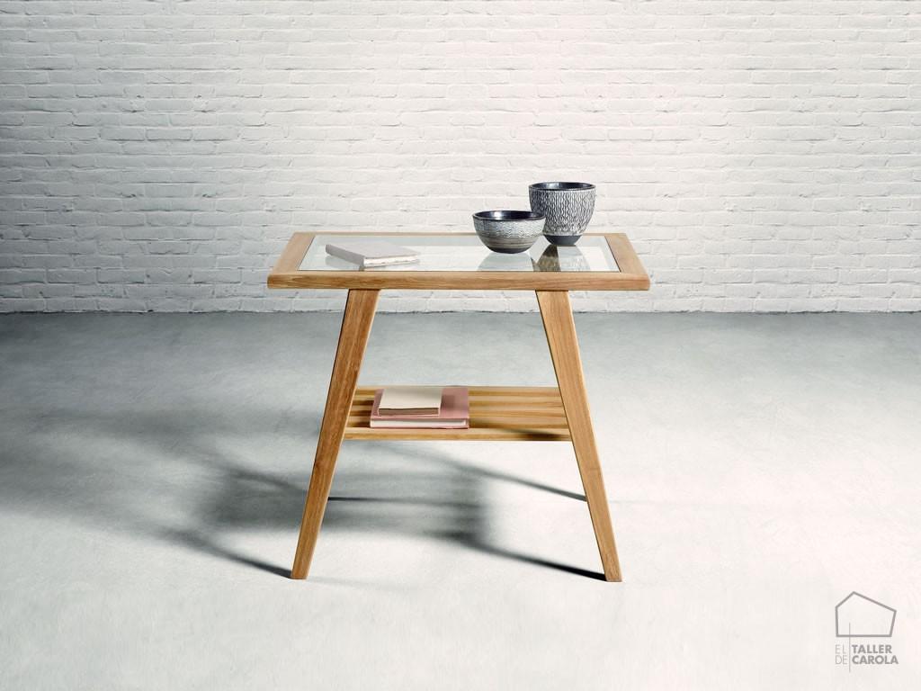 Mesa auxiliar madera y cristal alaya el taller de carola - Mesas auxiliares de cristal ...