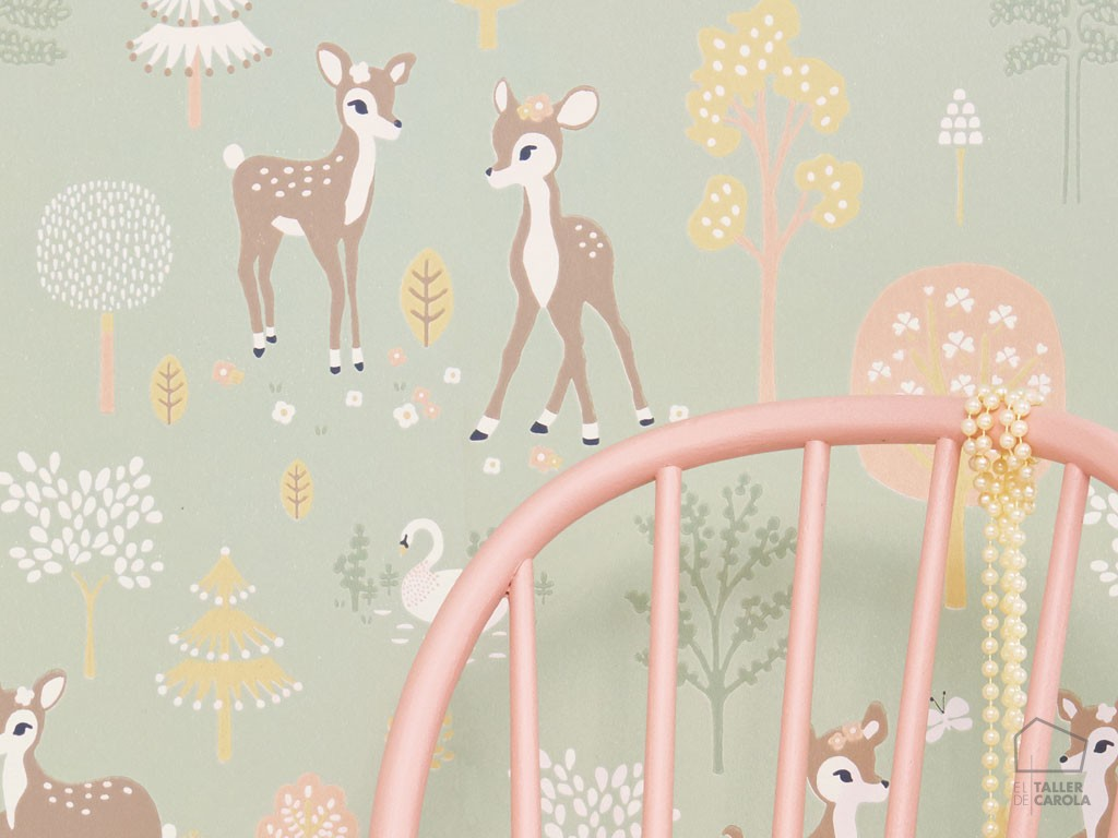 Papel Pintado Infantil Bambi Verde