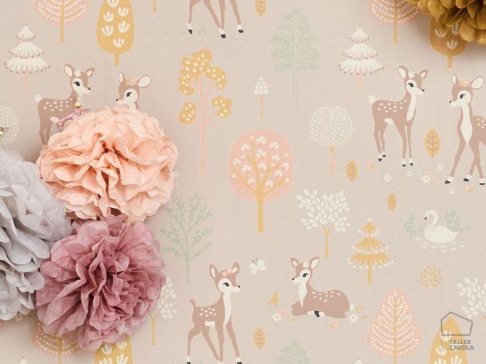 Papel Pintado Infantil Bambi Topo