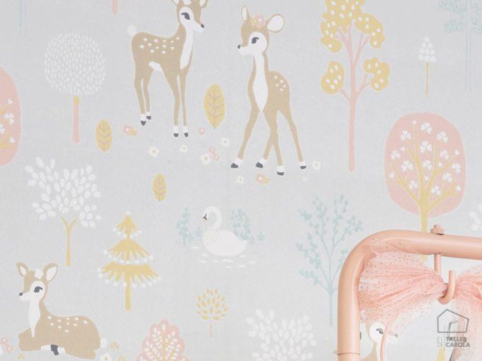 Papel Pintado Infantil Bambi Gris