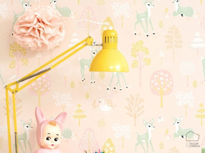 Papel Pintado Infantil Bambi Rosa