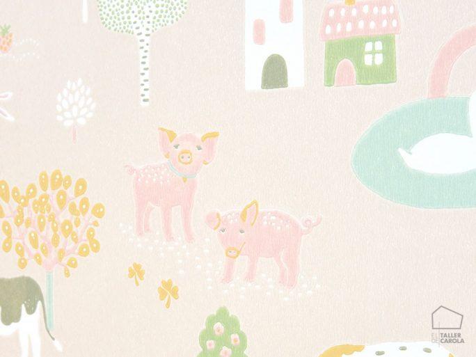 Papel Pintado Infantil Granja Rosa