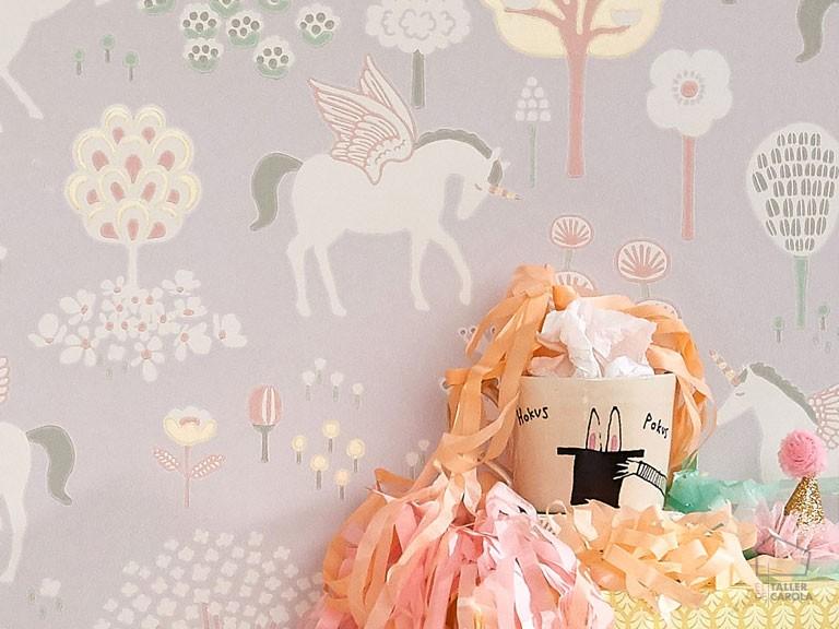 Papel Pintado Infantil Unicornios Lila