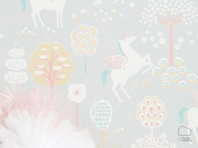 Papel Pintado Infantil Unicornios Verde Agua