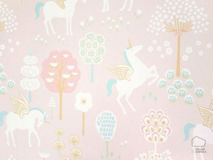 Papel Pintado Unicornios Rosa
