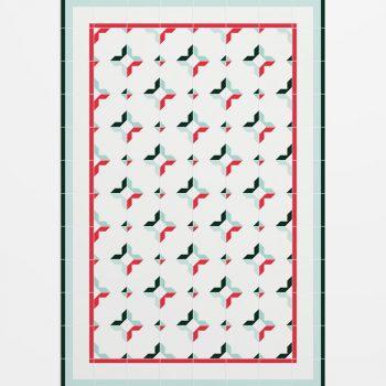 027cm1540 Alfombra Hidráulico Figura Verde y Rojo