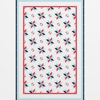 027cm1550 Alfombra Hidráulico Figura Azul y Rojo