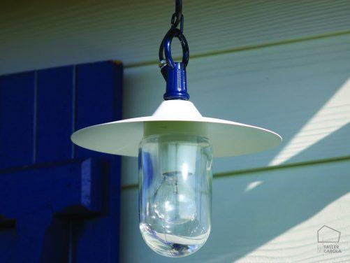 038cmt1023 Lámpara Suspensión Exterior con Cadena Azul