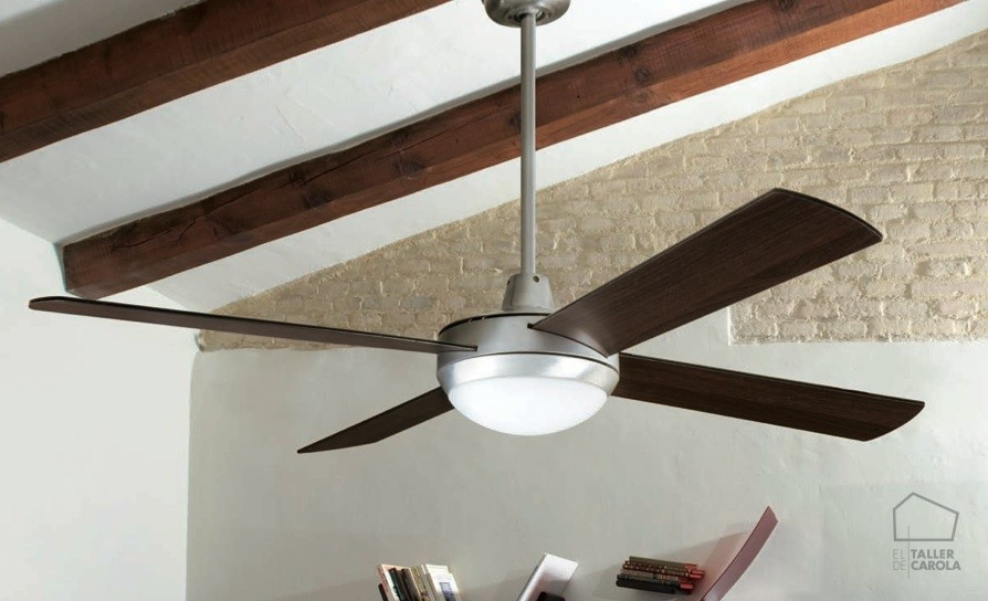 03950986CR Ventilador de techo c/luz (Aluminio, palas reversibles-wengué) d.132 xh30 cms