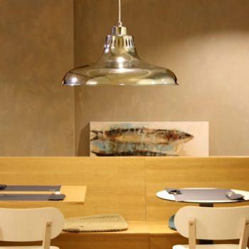 040c991gc lámpara de suspensión industrial campana cromada d40xh23cm