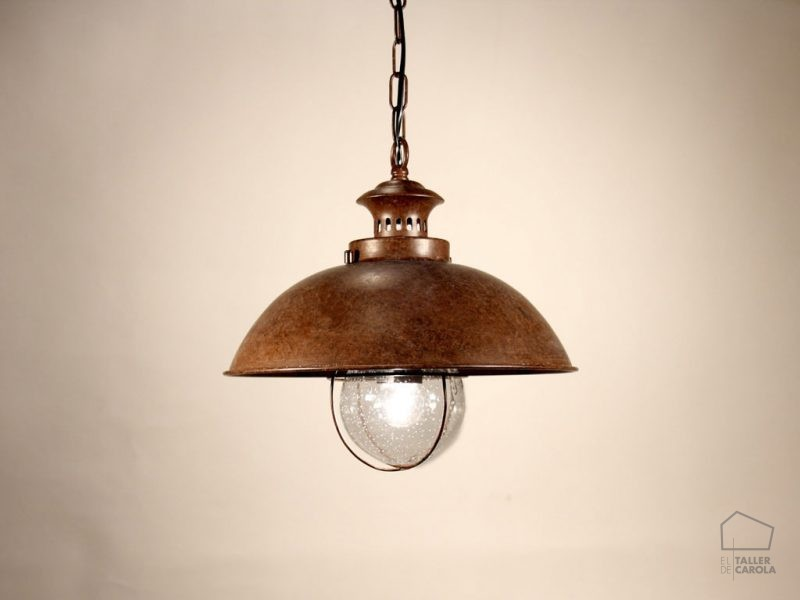040cbfo_8991 lámpara de suspensión estilo industrial barco óxido 33x33x125cm