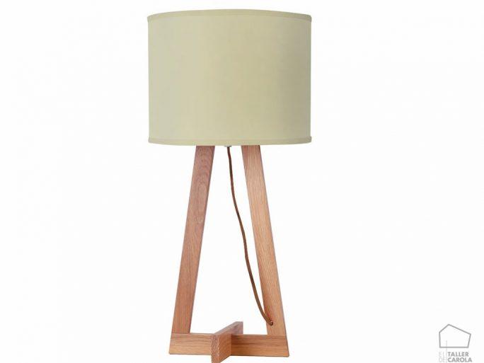 042sali Lámpara de Sobremesa Madera Nórdica y Pantalla Textil
