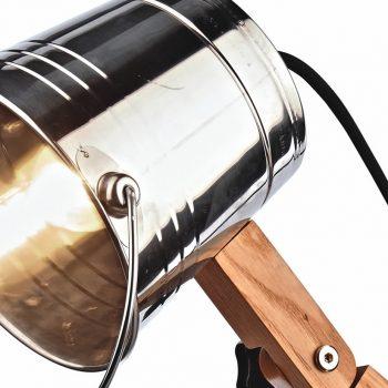 042shie Lámpara de Pie Cubo Metal Madera Cemento