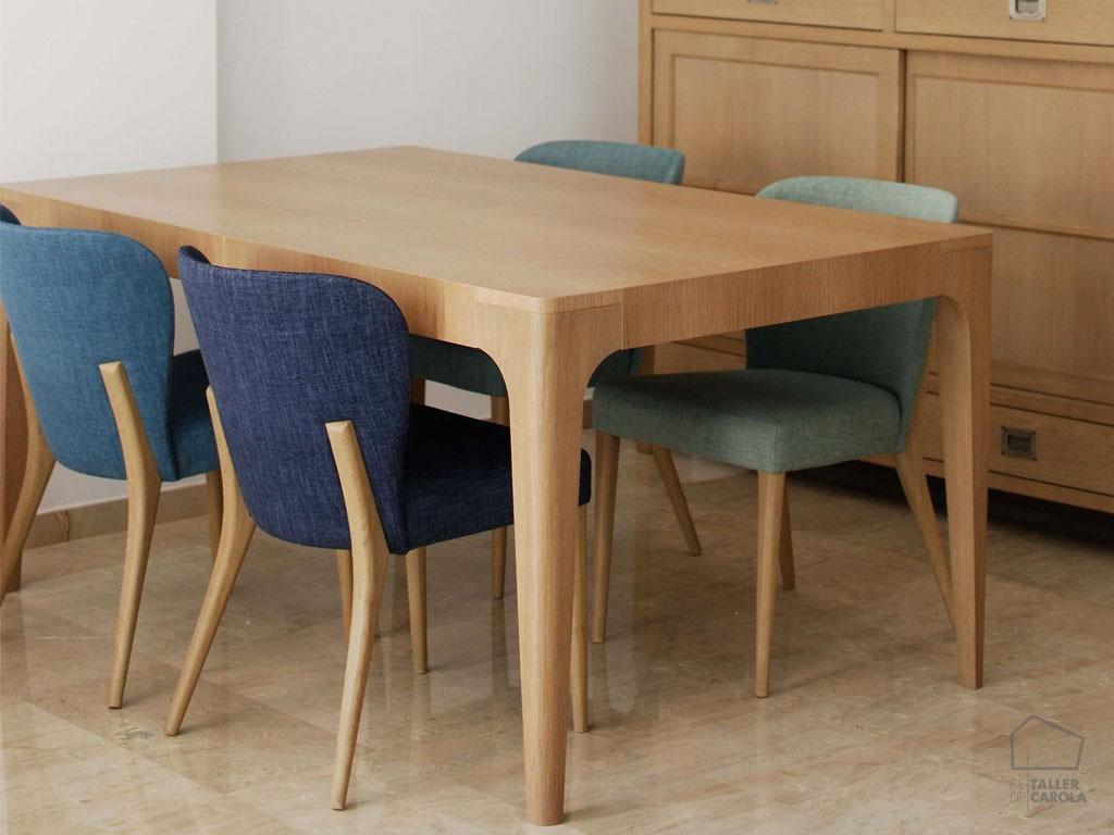 Mesa extensible pata curva el taller de carola - Mesa madera extensible comedor ...