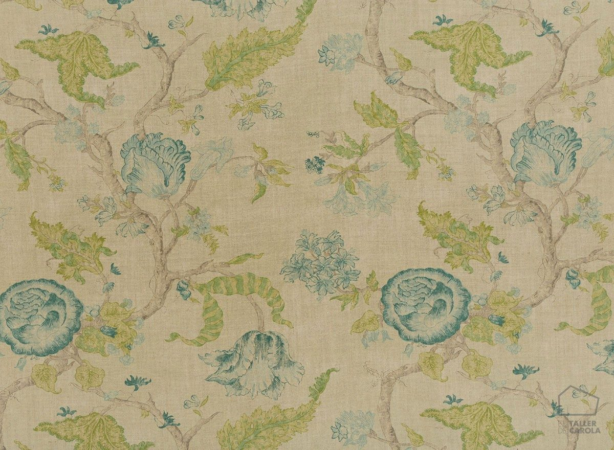 056ale03 Tela flores Lino Natural