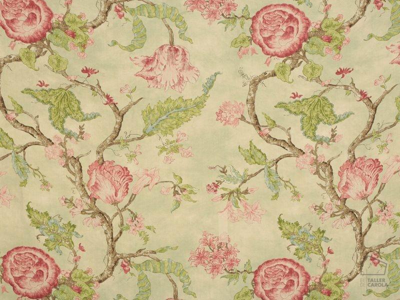056ale04 Telas Lino flores Verde