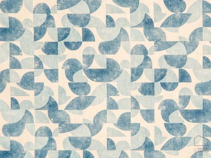 056aud_gol38 Tela Estampado Geometrico Vintage Azul