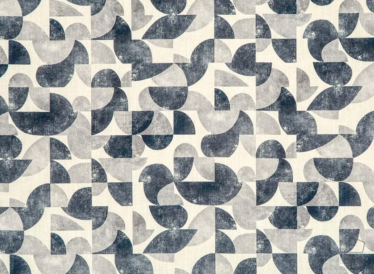 056aud_gol43 Tela Estampado Geometrico Vintage Azul