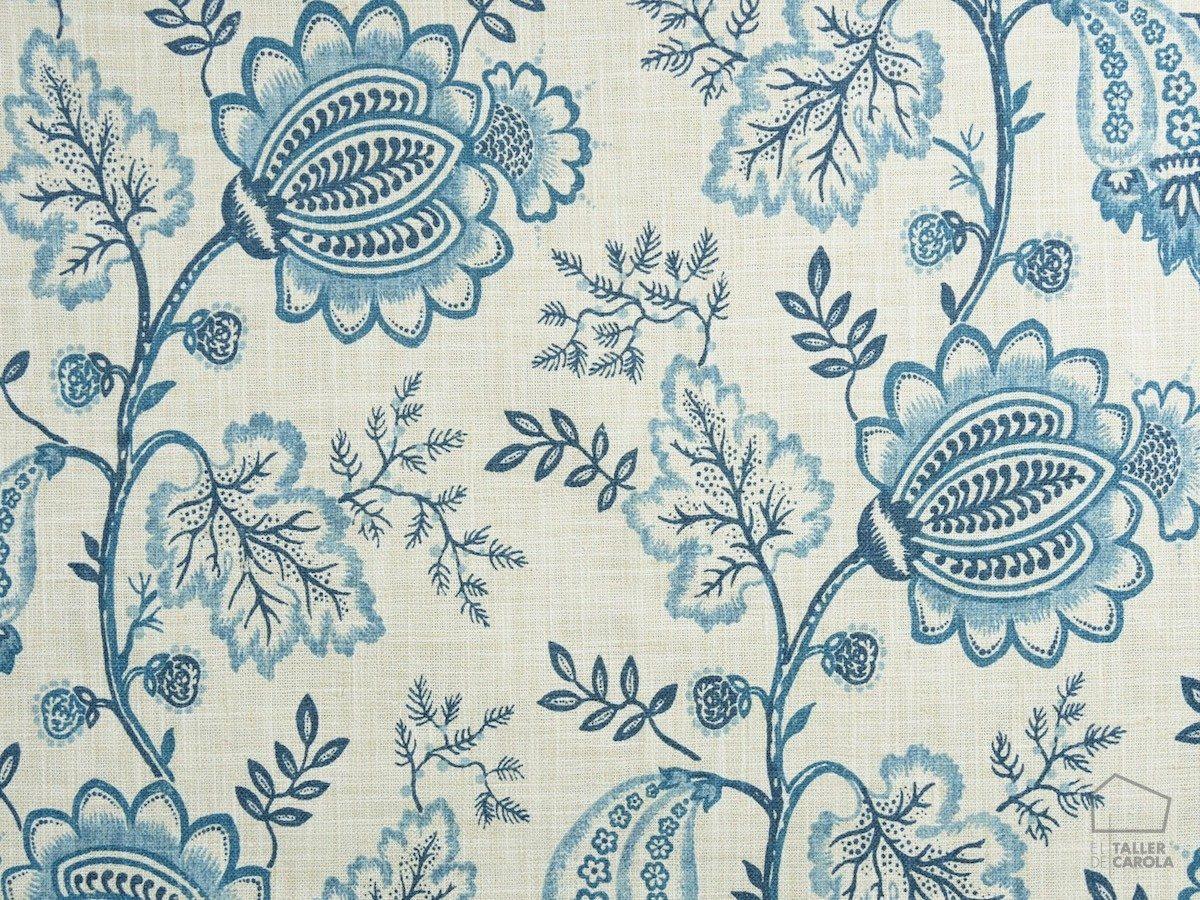 Tela CEI Flores Lino Azul