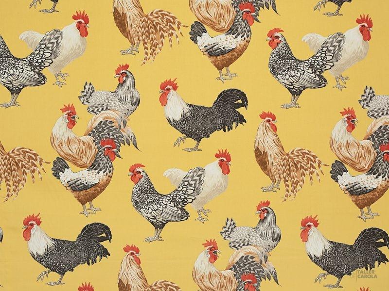 056chi03 tela estampado gallinas mostaza
