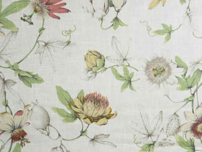 Tela FIY Flores Botánica Blanco