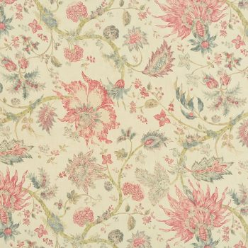 056gab01 tela flores botánica fresas