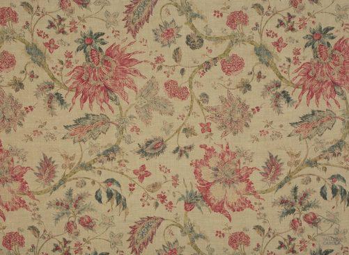 056gab03 tela flores botánica fresas fondo lino