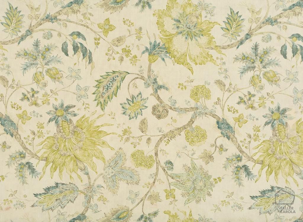 056gab04 tela flores botánica verdes