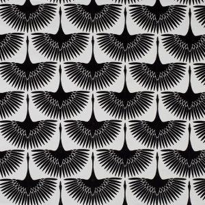 Tela GLO Estampado Aves Art Decó Negro