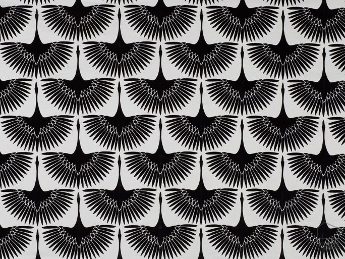 056glo50 Tela Estampada Pajaros Negro Art Deco