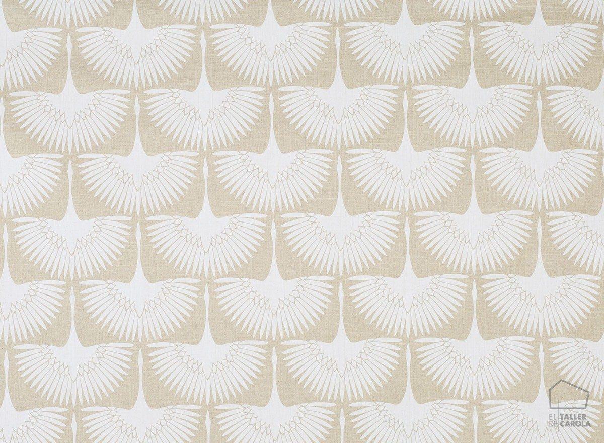 056glo60 Tela Estampado Pájaros Art Deco Blanco