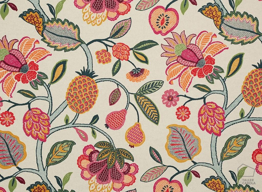 056hel02 Telas Flores y Frutas Tapizar Fresa
