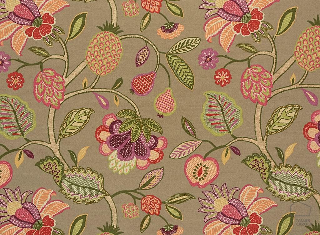 056hel04 Telas Flores y Frutas Tapizar Topo
