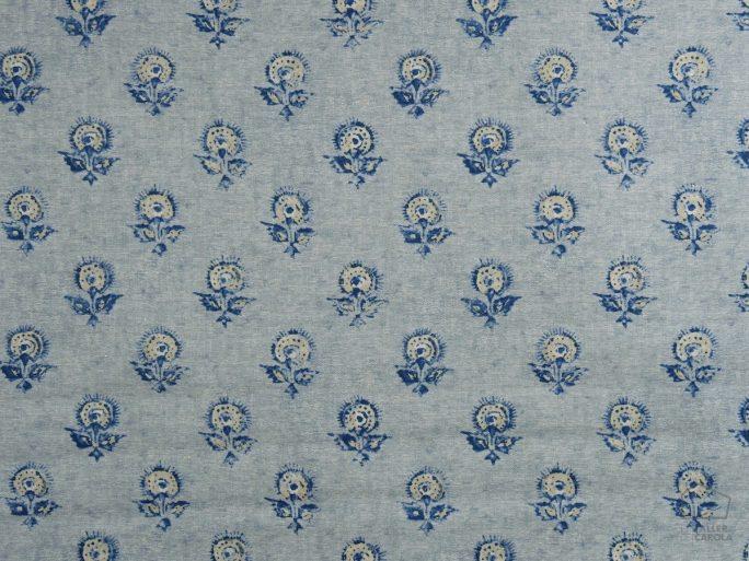 Tela KON Estampado Flores Indias Azules