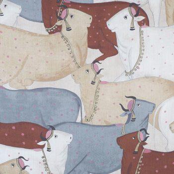 056nan01 Tela Lino Vacas Terracota