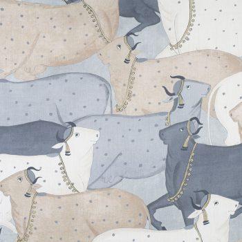 056nan02 Cows Linen Fabric Blue